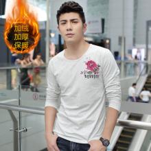 2016加绒加厚男士个性绣花刺绣中国风长袖T恤圆领大码打底衫8061