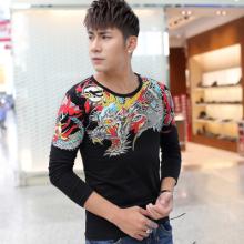 2016春夏男装修身中国风潮流印花t恤大码男士长袖T恤打底衫1742#