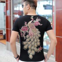 2016夏款男装半袖个性绣花刺绣孔雀图案男士短袖T恤圆领大码A8050