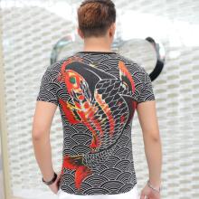 2016男装中国风T恤潮创意烫钻印花鲤鱼纹身短袖男T恤短袖 A8059