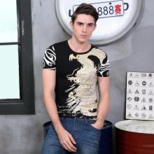 2016t恤男中国风夏季奢华印花T恤龙图案短袖纯棉修身潮体恤衫8869