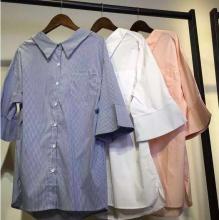 2016夏季流行的条纹露背衬衣 美美的女装衬衣货源