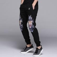 SXF新款潮男韩版修身个性印花长裤子男士时尚束脚运动休闲裤卫裤