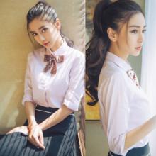 微微一笑很倾城Angelababy杨颖明星同款白色蝴蝶结长袖