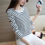 210#实拍黑白条纹长袖t恤女学生韩版大码女装显瘦肩章百搭上衣