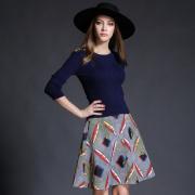 实拍8970#春装新款套装裙简约百搭针织上衣印花半裙两件套连衣裙