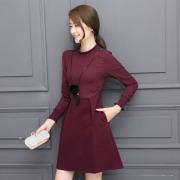 实拍修身中长款秋冬装针织拼接长袖连衣裙新款女装2016打底裙6882