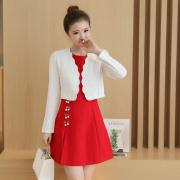 实拍5822#春秋新款两件套装连衣裙女装品牌韩版OL气质长袖套裙子