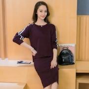7036#新款时尚长袖针织衫连衣裙套头两件套毛衣百搭套装