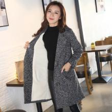 实拍 冬季新款女装加厚保暖羊羔毛大衣茧型双排扣中长款毛呢外套