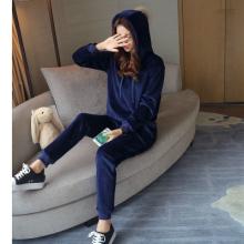 5733#实拍2016冬韩版休闲时尚运动套装连帽毛球上衣长裤两件套女