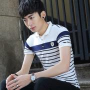 2017夏季条纹翻领男士短袖T恤韩版修身短袖polo衫男T青年3011