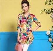 大量现货9198#2017春夏新款女装真丝印花中长款衬衣