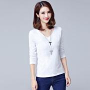 秋季V领白色长袖t恤女装纯棉简约打底衫修身体恤大码韩版百搭上衣
