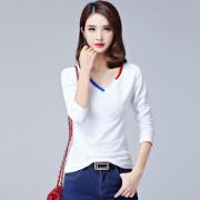 秋冬V领白色长袖t恤女装纯棉简约修身体恤韩版百搭上衣纯色打底衫