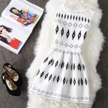 6387#淑女黑白菱形格修身显瘦打底裙无袖收腰A字蓬蓬裙背心连衣裙