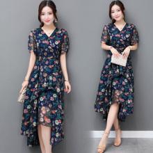 实拍碎花雪纺连衣裙女装长裙夏季新款韩版修身显瘦长款短袖裙子潮5205