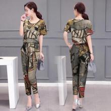 [实拍]9571#2017夏装新款韩版修身印花上衣女装时尚休闲两件套