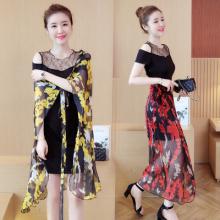 夏季女装新款潮韩版印花雪纺连衣裙中长款时尚镂空网纱百搭套装裙