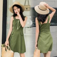 716#2017夏季新款韩版吊带裙子时尚气质纯色高腰无袖连衣裙