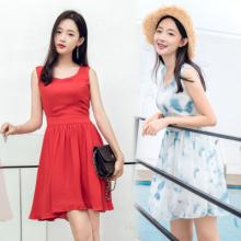 711#夏韩版甜美气质小清新风景无袖雪纺波西米亚系带A字连衣裙