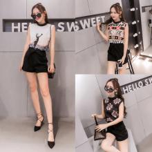 911#夏季女装韩版新款时尚显瘦套装无袖印花上衣雪纺短裤两件套潮