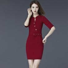 1003#实拍职业连衣裙女夏2017工作服一步裙OL通勤大码修身包臀裙