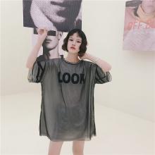 实拍1850#韩版线条圆领撞色字母胶印落肩袖网纱两件套大T恤