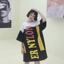 实拍1855#撞色字母胶印图案黑白拼接落肩袖韩版大T恤裙