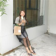 实拍1830#甜美韩版网纱拼接圆领条纹大T恤叠加裙