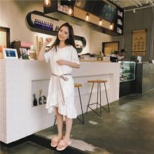 实拍1803#韩版圆领彩条腰带宽松大白T恤不规则荷叶边裙