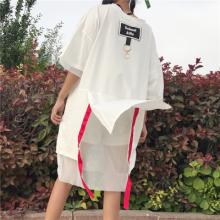 实拍1831#原宿风字母胶印图案落肩袖铁环撞色织带网纱拼接中长T恤