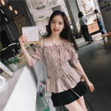 实拍1828#chic韩版一字领抽绳收腰娃娃袖梭织棉格子上衣学生显瘦