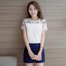 实拍套装女2017夏季新品韩版印花短袖雪纺衫阔腿短裤两件套装