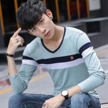 2017男士长袖t恤秋季新款V领拼色棉修身韩版男式t恤-2121#