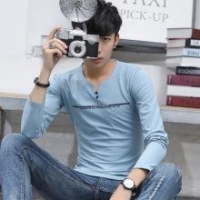实拍 日系男装t恤V领长袖修身竹节棉麻t恤印花男式T恤-2122