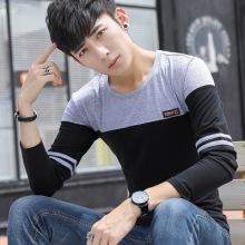 实拍新款 男士长袖t恤圆领拼色棉韩版修身套头男式t恤-2123#
