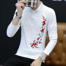 长袖T恤男新款韩版潮流翻领修身绣花学生休闲个性体恤上衣服5007#