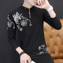 5004#秋衣男新款男士长袖t恤衬衫翻领polo衫修身青年保罗体恤薄款