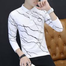 秋季中国风印花衣服男士长袖t恤丅血有带领子小衫上衣外穿5005#