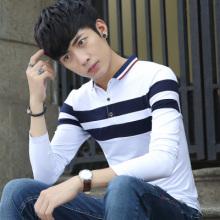 男士长袖t恤翻领青年韩版修身男装潮流Polo衫个性拼接上衣服611#
