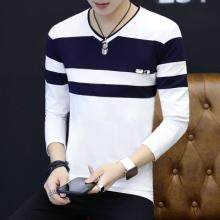 2017新款男士长袖T恤男装韩版衣服条纹潮流春天V领薄款上衣9247#