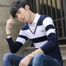 秋季青少年长袖t恤男假两件长袖衬衫领上衣服潮学生打底衫2112#