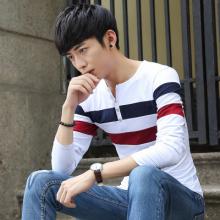 实拍 现货 男装T恤长袖V领修身韩版纯棉拼色厂家直销-835#