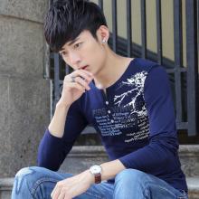 现货 新男士T恤长袖V领印花修身韩版青少年体恤纯棉1037-910#