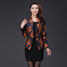 实拍2017秋季新款长袖韩版修身显瘦大码气质妈妈装小西装外套F005