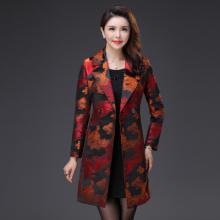 实拍2017秋装新款时尚提花修身显瘦大码风衣外套优雅气质韩版F017