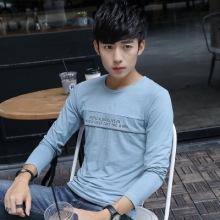 实拍 现货 17男式T恤长袖竹节棉圆领修身日系男装上衣-2212#