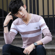 秋季男士长袖t恤V领秋衣服韩版潮流打底衫2017新款修身小衫9247