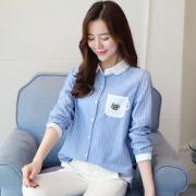 实拍8883#2017秋季新款韩版长袖条纹衬衣百搭贴布上衣女潮